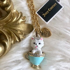 Juicy Couture Yorkie Puppy Teacup Necklace NWT